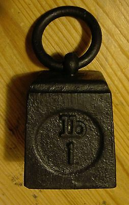 Vintage Post Office 1lb Cast Iron Ring Weight make useful Paper Weight (3998)