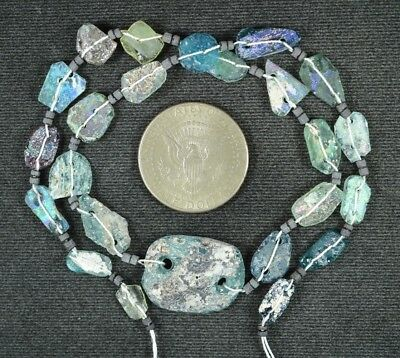 Ancient Roman Glass Beads 1 Medium Strand Aqua And Green 100 -200 Bc 917