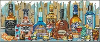 Wine. Alcohol. Bottles. 14CT Counted Cross Stitch Kit. Craft Brand New.