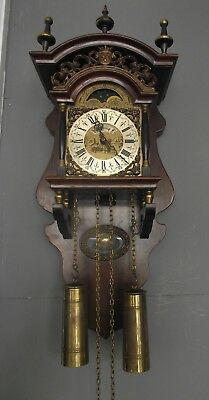 """"""" Dutch Vintage Eight Day Weight Driven Moon Phase Clock """""""