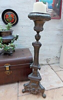 Antique Tall Metal Floor Standing Church Country House Candle Stick Cherub Putti