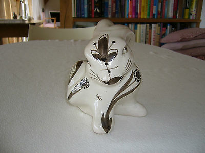 "Vintage David Sharp Pottery Rabbit. 6"" High White/crean With Brown Markings"