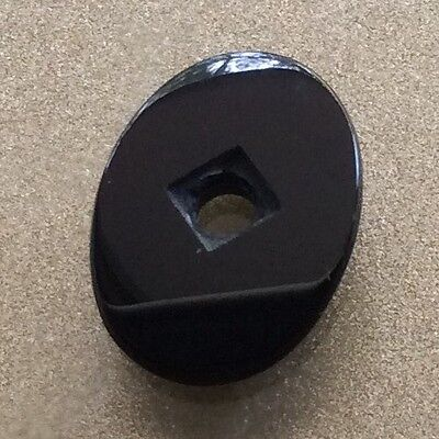 NATURAL BLACK ONYX 18x12MM DRILLED CABACHON STONE LOOSE