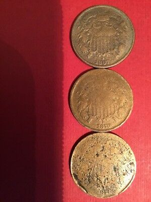 Lot Of 3 1867, 1870 & 1871 Two Cent Pieces 2c