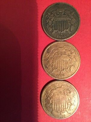 Lot of 3 1864, 1865 & 1866 Two-cent piece Bronze 2c coins