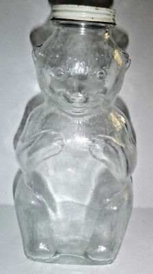 """Vintage Large Clear Glass Bear Zarex Syrup Coin Bank 8-1/2""""  Metal Screw-On Cap"""