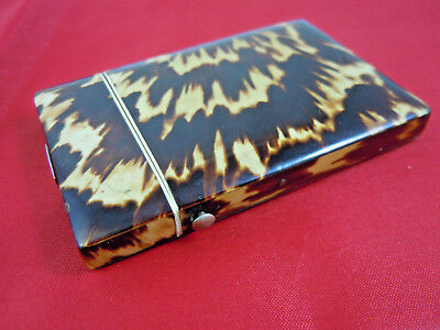 HANDSOME EARLY VICTORIAN FAUX TORTOISESHELL CARD CASE c1840 SILVER ESCUTCHEON