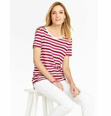 f846709108e0c3 Talbots NWT  55 2X TEE Top Linen Red PINK Cream STRIPES Scoop Neck 18W 20W