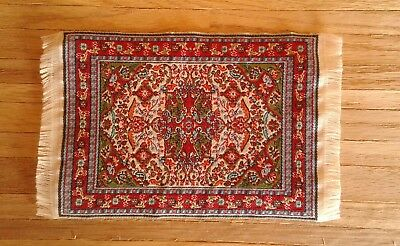 "Dollhouse Miniature 4""x6"" Oriental Persian Style Woven Rug Carpet w Fringe 1:12"
