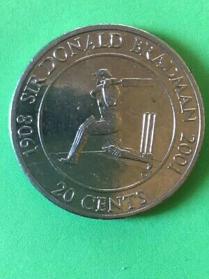 Rare 2001 Australian 20 cent unc Don Bradman Commemorative coin from Melb Mint