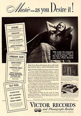 Vintage Print ad 1937 music RCA Victor Records Phonograph radios As you desire