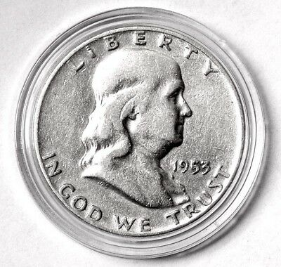 1953 D 50c Franklin Silver Half Dollar US Coin AU About Uncirculated