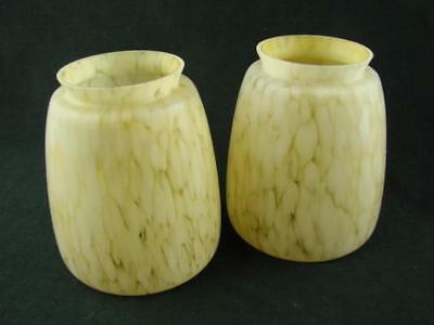 SUPERB PAIR OF PALE AMBER MARBLED SHADES, 8cm FITTER, WILL FIT TILLEY LAMP