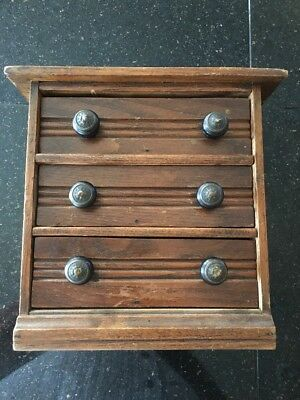 Primitive Very Small 3-Drawer Spool or Sewing Cabinet~Neat!