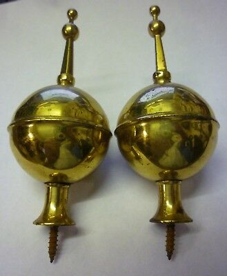 Pair Of Used Longcase Clock Brass Finials