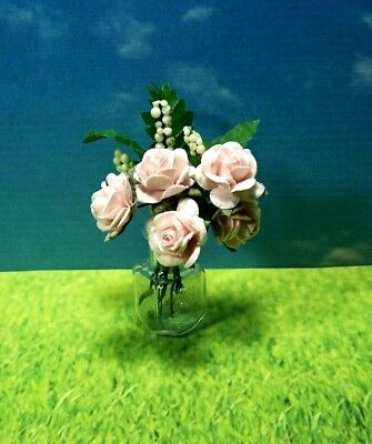 Miniature Glass Vase Light Pink Roses Ferns Baby's Breath Dollhouse Diggs 1:12