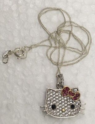 """SANRIO HELLO KITTY STERLING SILVER PENDANT NECKLACE 18 in. """" Charm 925"""