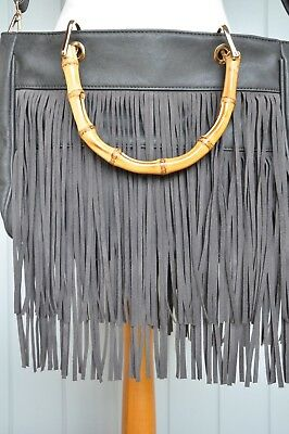 Buy It Now-Large Faux Leather Fringed Charcoal Grey Bag -  'Rose Gold' Hardware