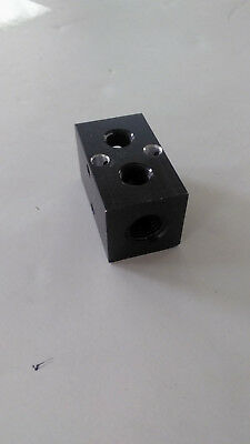 Aluminum Air Block Manifold 4 Outlets: (2) 1/4 Npt Ends And (2) 1/8 Npt Top