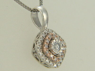 33a40c90d65d6 10K ROSE GOLD 925 Sterling Silver Diamond Filigree Pendant Necklace 18