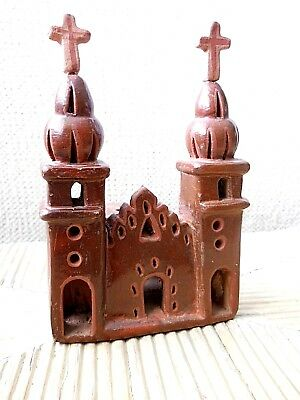 Vtg Terracotta Burnish Pottery Miniature Mission Christian Church Mexican Folk