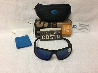 bf93fbed4a1b3 NEW Costa Del Mar Cape Polarized Sunglasses Matte Black Blue 580P CAP 187  OBMP