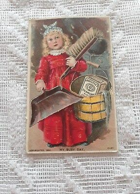 VTG 1892 James Pyle's Pearline Washing Compound Girl w/Dust Pan - Advertising
