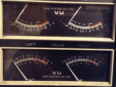 Akai VU Meters from 1730 DSS Quad Reel to Reel, Top and Bottom, 4 Channel Parts