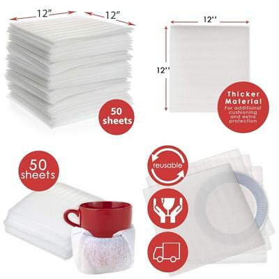 """Enko 12"""" X 12"""" (50-Pack) Foam Wrap Sheets Protect Glasses, China, Dishes For Mov"""