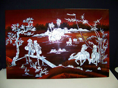 Vintage Vietnamese Asian Lacquer Mother Of Pearl Art Plaque