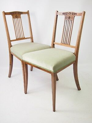 Pair Antique Edwardian Rosewood Chairs - Bedroom Dining Side dressing Desk Chair