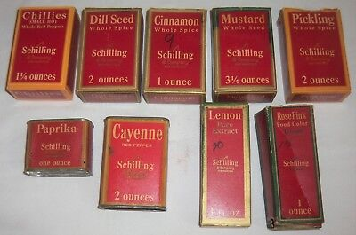 9 VINTAGE SCHILLING Spice Boxes Bottles & Tins Circa 1930s CINNAMON Dill CAYENNE