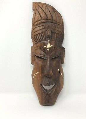 "Tribal Art Mask Wood Hand Carved Wall Hanging Plaque Decoration,  12"" Tall"
