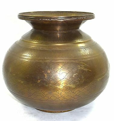 Antique Rare Big Brass Holy Water Pot Hand Crafted Beautiful Design. G66-543