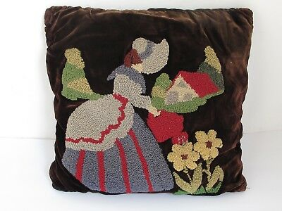 Antique Needlework  Pillow Parrot  on One Side Bonnet Girl on Reverse
