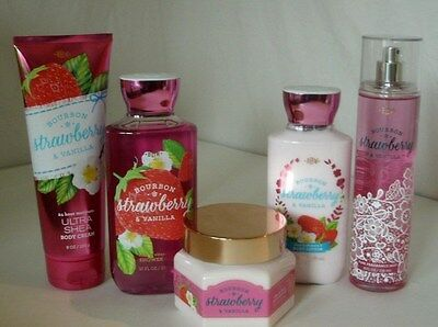 5 Pc Bath & Body Works Bourbon Strawberry Vanilla Set Gel Souffle Cream Mist Lot