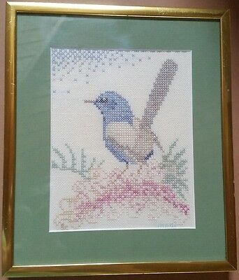 Vintage Crosstitch Framed Willy Wagtail Blue Wren Australia  Pastels Shabby Art
