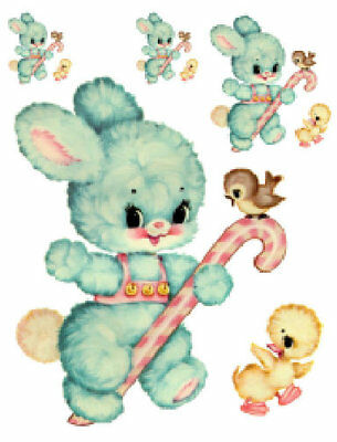 Vintage Image Nursery Baby Bunny Candy Cane Furniture Transfers Decals AN520-GRE