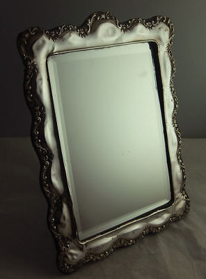Large 11 Inch Art Nouveau Style Solid Silver Dressing Table Mirror - Birm 1917.