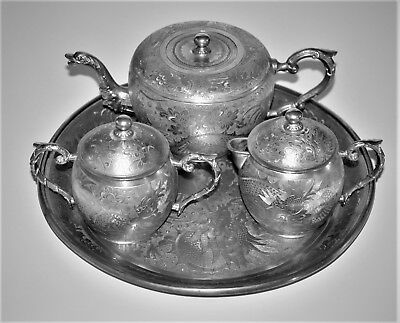 Antique Chinese Huikee Swatow Pewter Tea Set Tonghang Qing