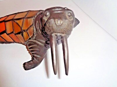 Unique Stained Glass Walrus Accent Light