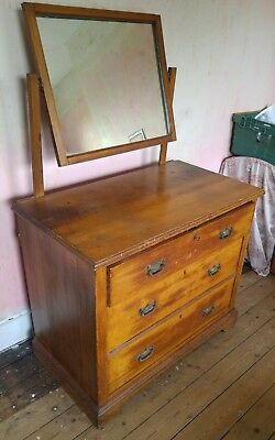 Edwardian antique oak chest of drawers with mirror