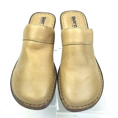 581a0fc28b68 Born womens 9 M tan leather platform mule clog shoes slip-on wedge heels  loafers