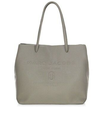 c0bac0889ed1  295 Marc Jacobs East West Leather Logo Shopper Tote Bag in Stone Grey OS