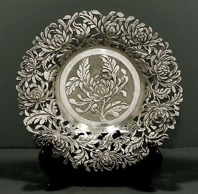 """Chinese Export Silver Wine Coaster       TRAY      c1890  """" NANKING SILVER CO. """""""