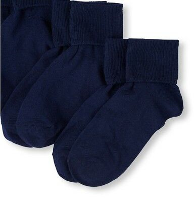 Childrens place Girls Basic Turn Cuff Socks 2-Pack fits shoe sz 3-6