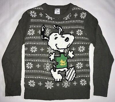 Peanuts Snoopy Ugly Christmas Sweater Large L Blue Nordic Lights Dog