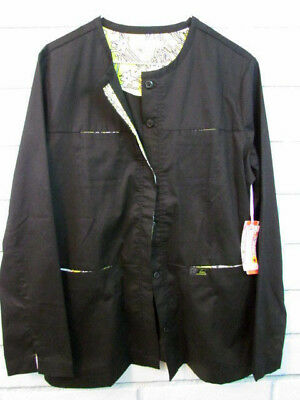 Koi Lab Coat Jacket Limited Edition M NWT Stretch Black with Yellow Contrast N30