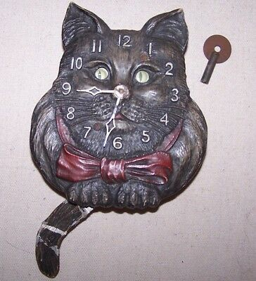 Vintage Lux Kitty Cat Wind Up Clock with Key--As Found