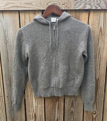 156d62da7cb TSE 100% Cashmere Fitted Zip Up Drawstring Hoodie Womens Size Medium